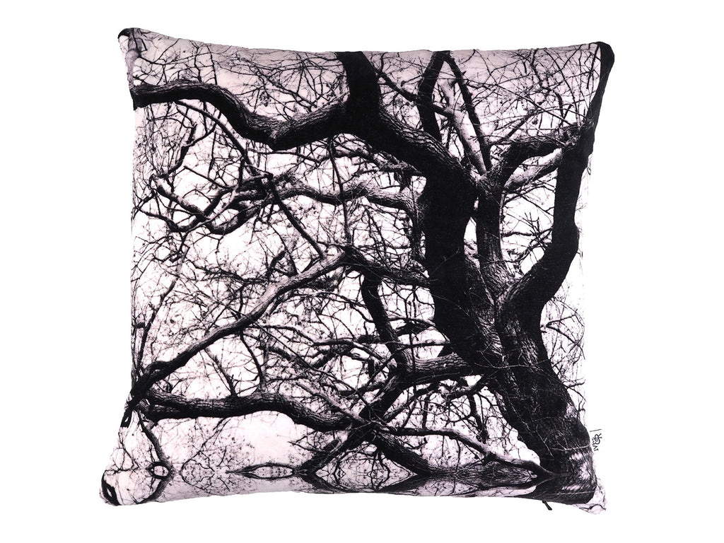 Monochrome tree print velvet cushion