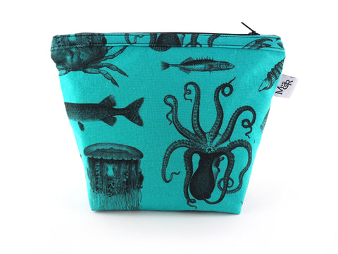 Turquoise handmade bag in sea creature print