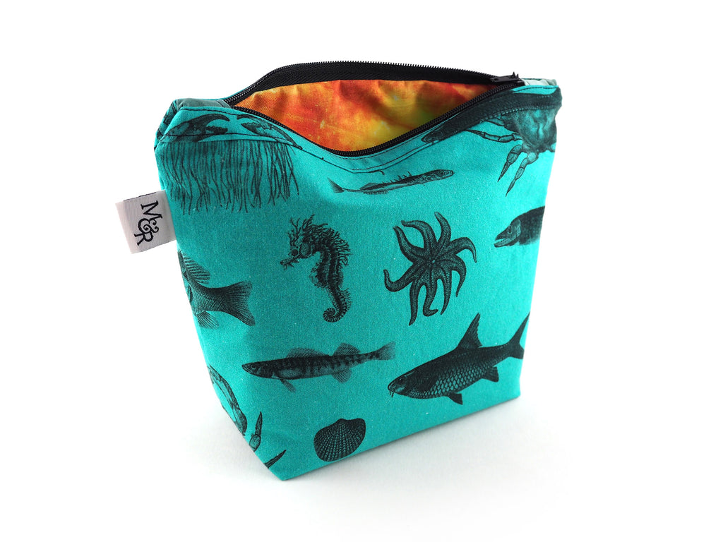 Turquoise handmade bag in sea creature print fabric