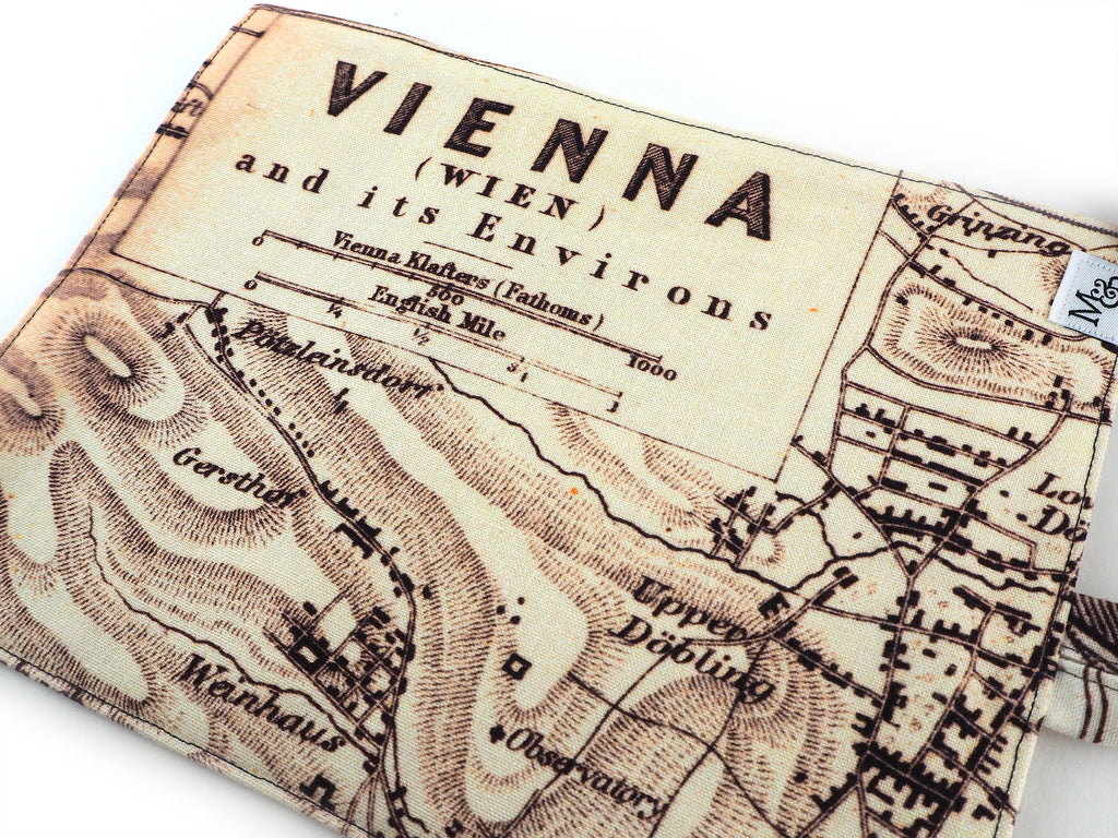 Handmade Vienna map print brush and pencil roll