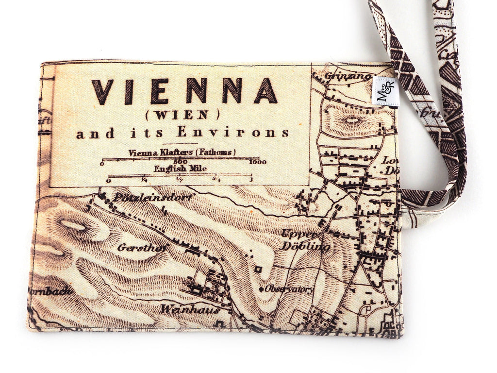 Handmade Vienna map print brush and pencil roll outer