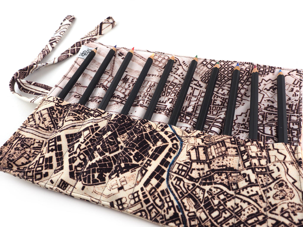 Handmade Vienna map print brush and pencil roll detail view