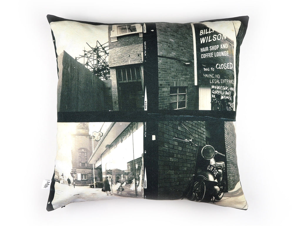 Vintage photo print cushion reverse