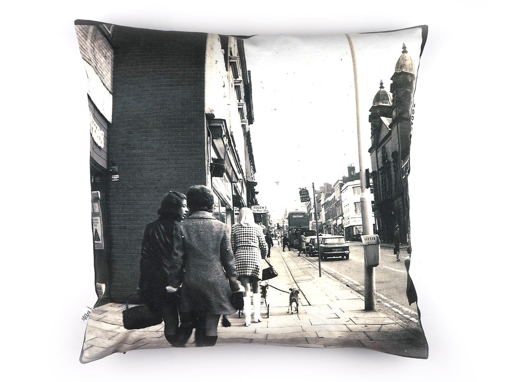 1960s photograph print cushion, girls shopping