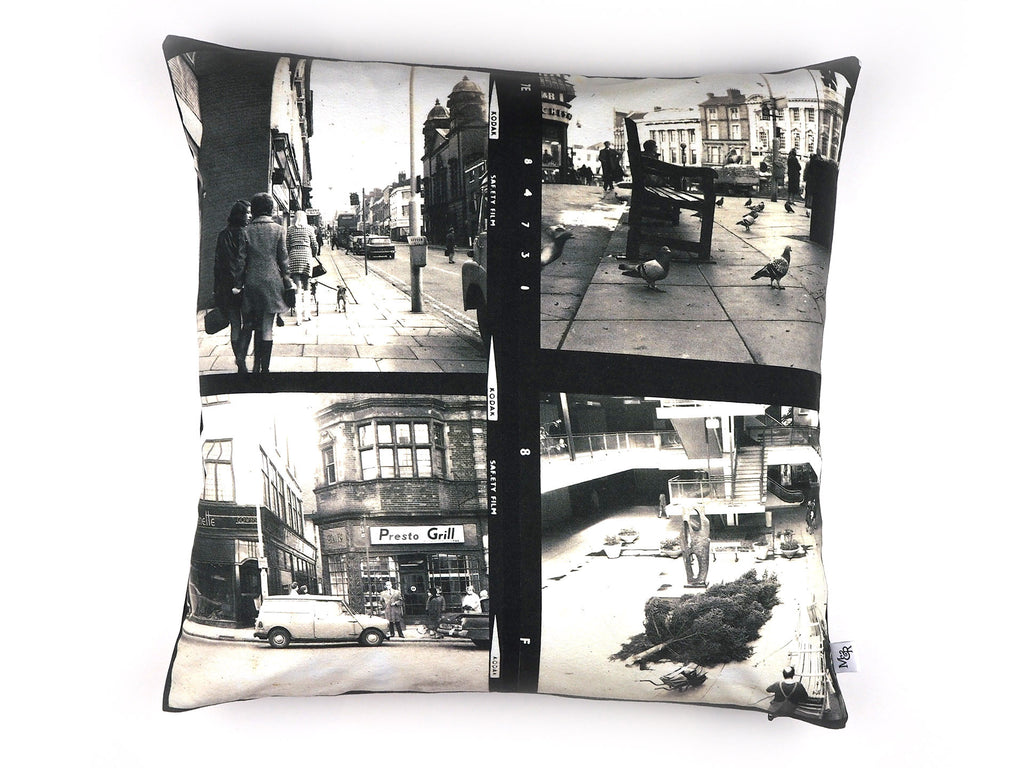 Vintage 1960's photo print cushion reverse