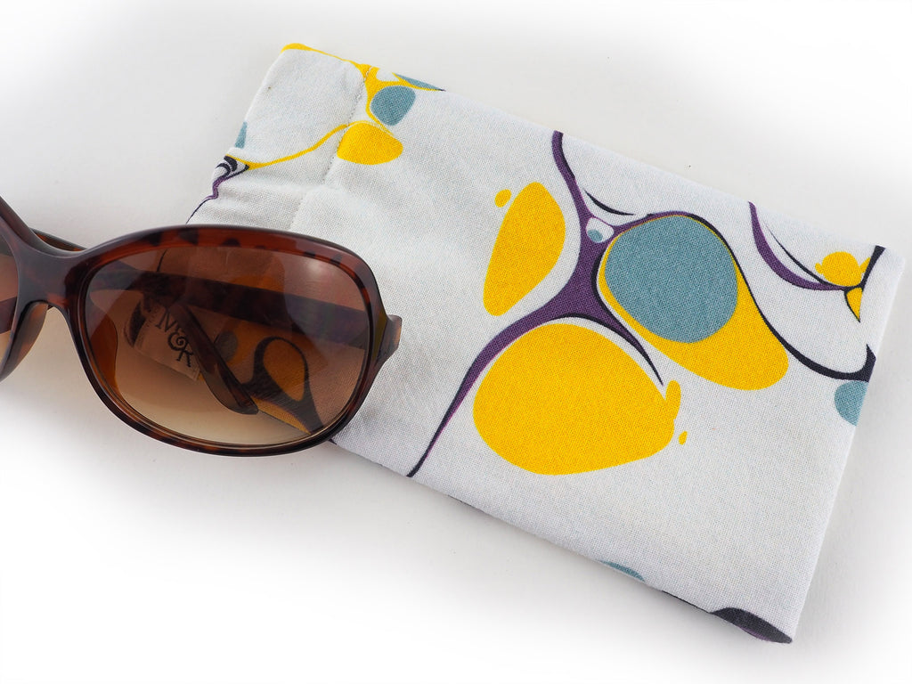 Handmade glasses case in white marble print detail