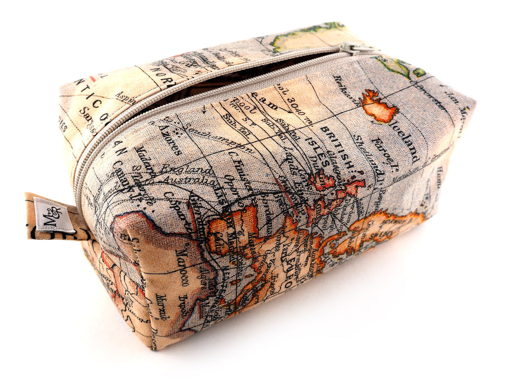 Handmade antique atlas print storage bag