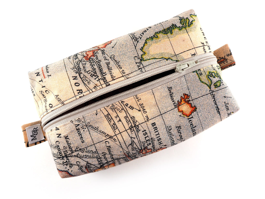 Handmade antique atlas print travel bag
