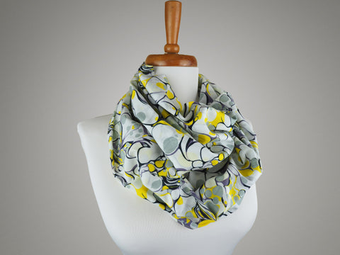 Handmade infinity scarf in yellow white and grey marble print