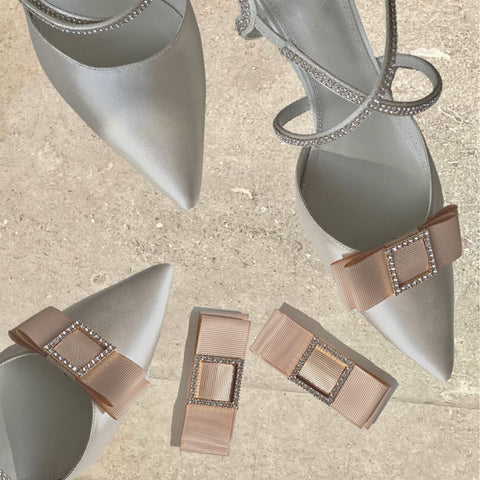 2 Pair Set - Grosgrain Ribbon and Pearl Shoe Clips <br/> **PRE-ORDER** - Alice Bow