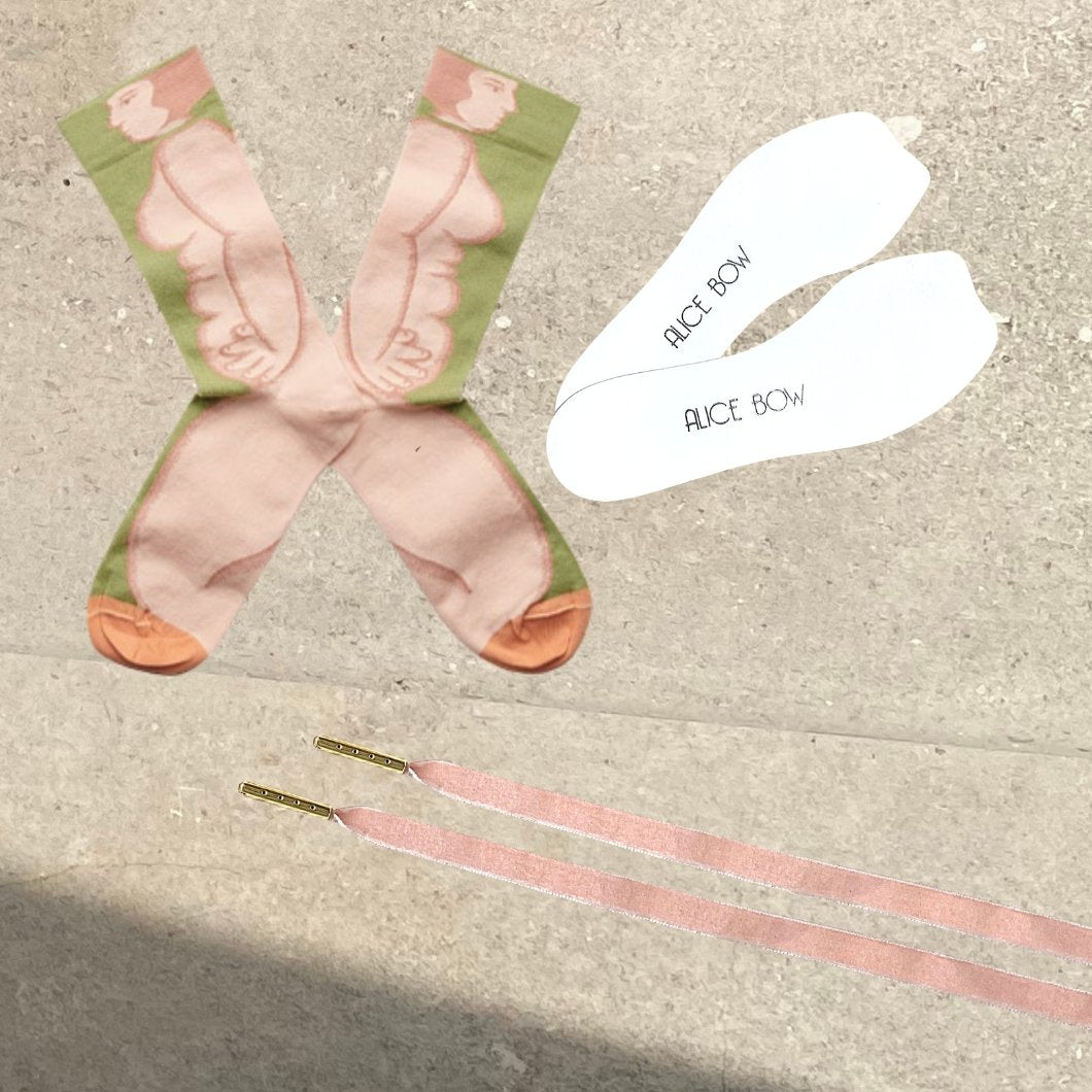 Bonne Maison Socks - Moss Nude + White Signature Insoles + *FREE* VELVET LACES - Alice Bow