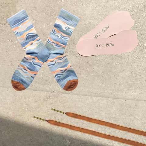 Bonne Maison Socks - Storm Wave + Ballet Pink Signature Insoles  + Velvet Shoelaces