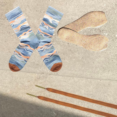 Bonne Maison Socks - Storm Wave + Rose Gold Signature Insoles  + Velvet Shoelaces