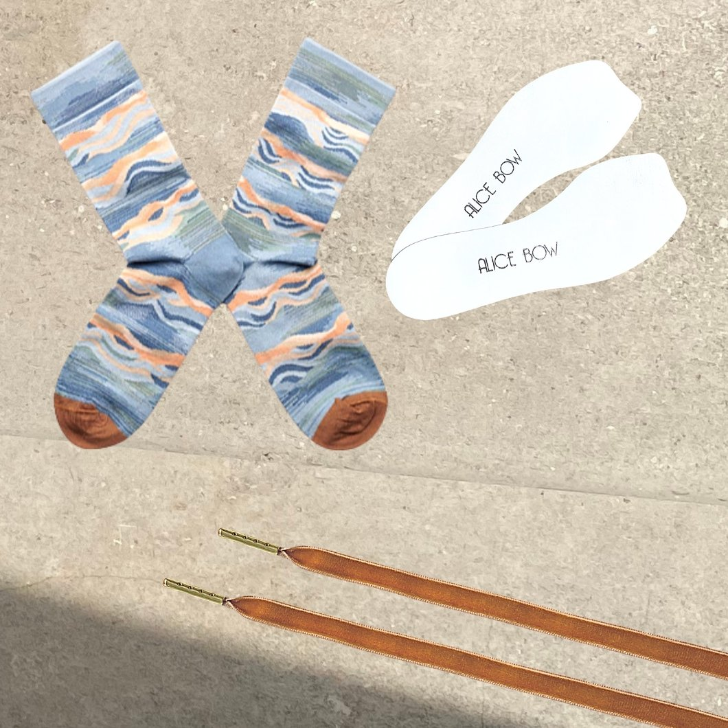 Bonne Maison Socks - Storm Wave + White Signature Insoles + *FREE* VELVET LACES - Alice Bow