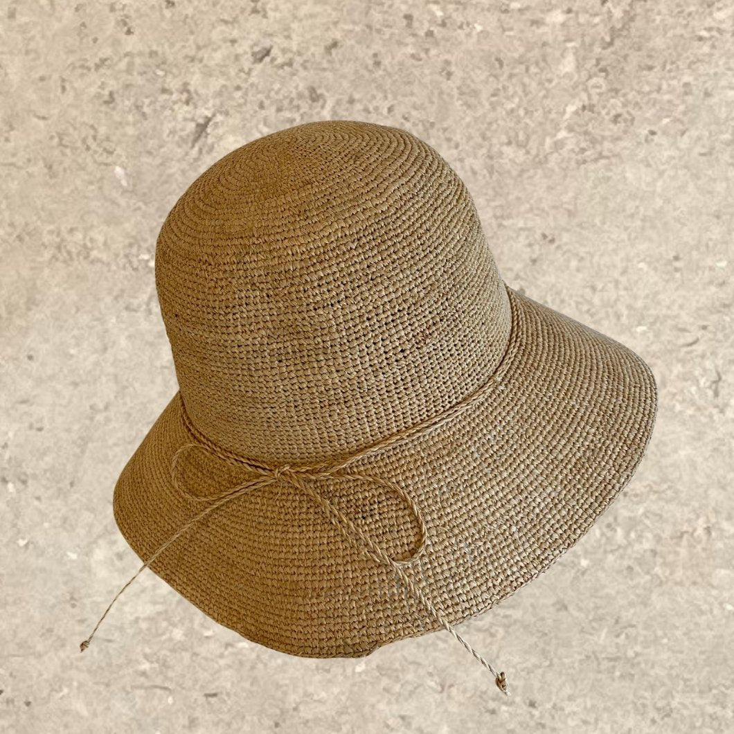 Foldable Knotted Raffia Sun Hat - Alice Bow