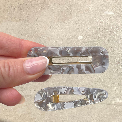 Marbled Grey Resin Hair Clips - Set of 2