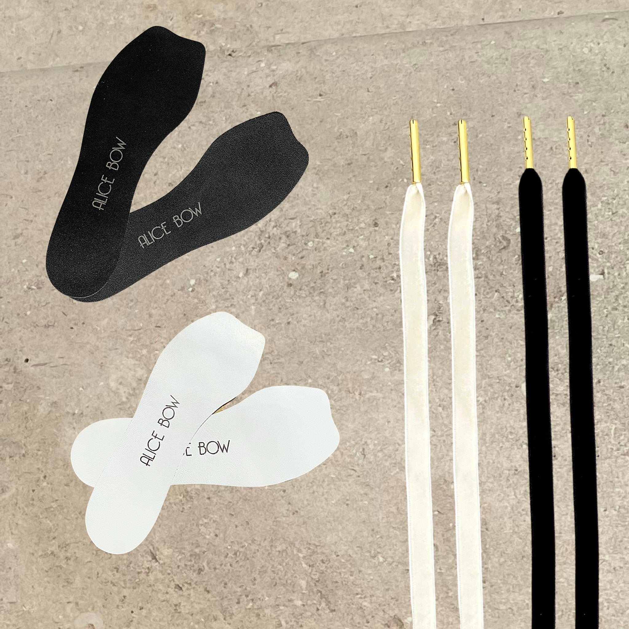 Signature Insole + Velvet Shoelaces Pack - Midnight Black & Soft White - Alice Bow