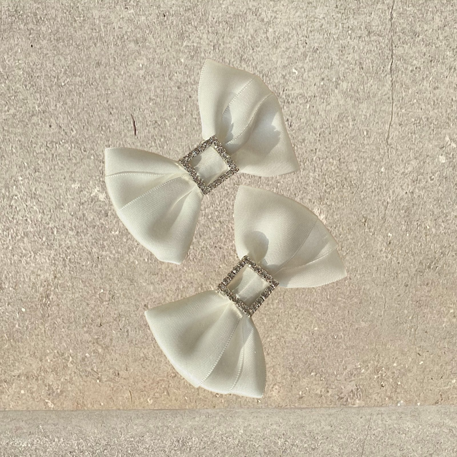 White Satin and Diamante Bow Shoe Clips - Alice Bow