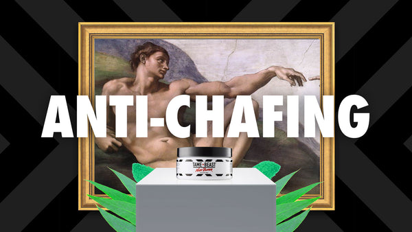 Michelangelo's Creation of Adam Sistine Chapel with Tame the Beast Nutt Butter Anti-Chafing Lotion for Men