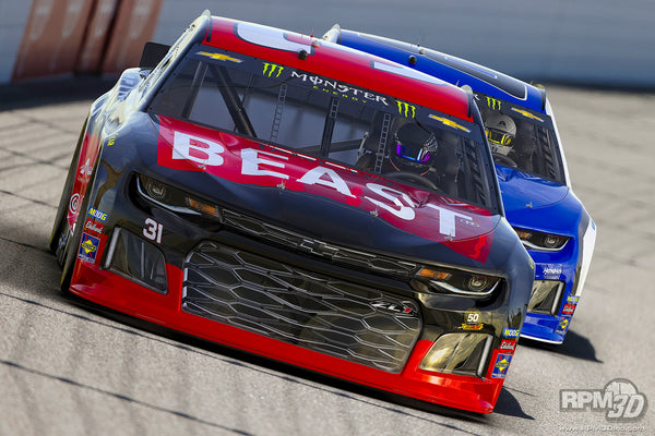 Beastmobile Tame the Beast NASCAR Car in Action 3D Rendering