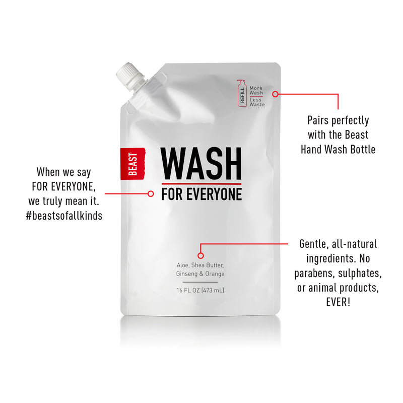 Wash for Everyone Refill Reduced Plastic Refill Pouch 16oz Half Liter Size