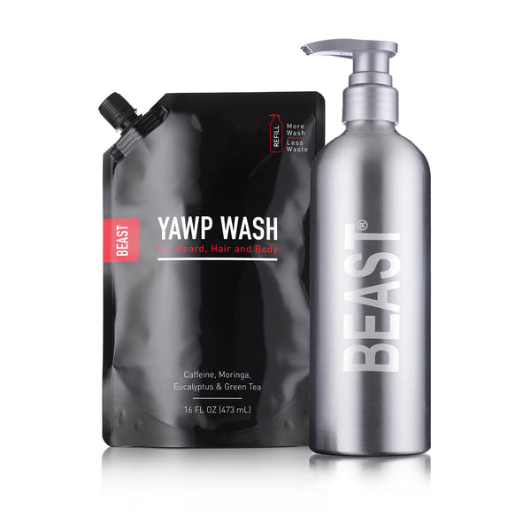 Extreme Yawp Body Wash with Refillable Reusable Beast Bottle