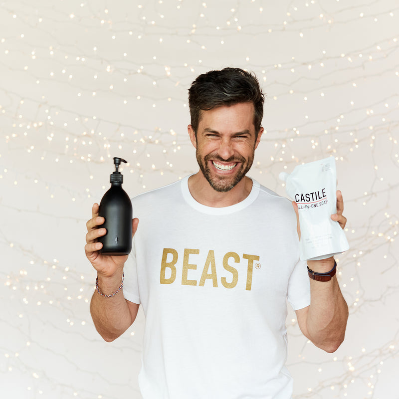 Beast T Shirt Mens with Hand Wash Bottle and Castile Soap