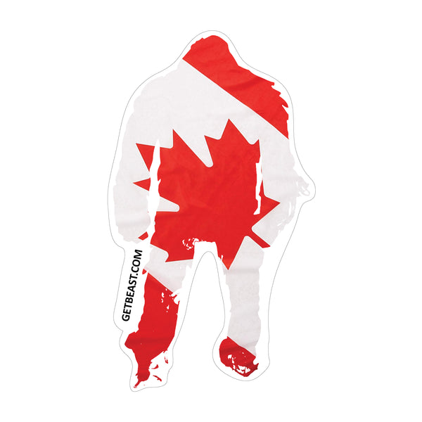 Canadian Flag Beast Sticker - Flag of Canada Red Maple Leaf