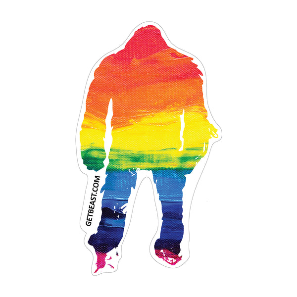 Rainbow PRIDE Beast on a Sticker.