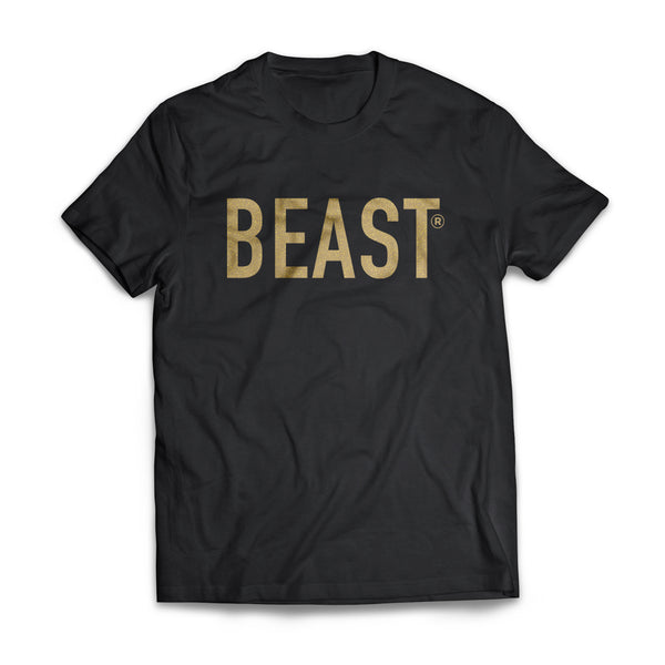 Beast Black T Shirt with Gold Beast Lettering on Front