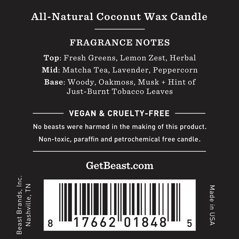 Beast Candle Fragrance Notes and Bottom Label