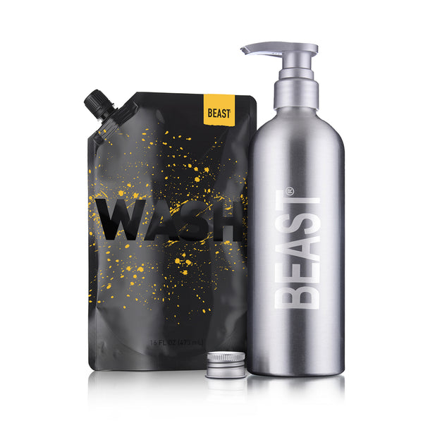 Beast Gold Wash and Reusable Bottle Kit Set