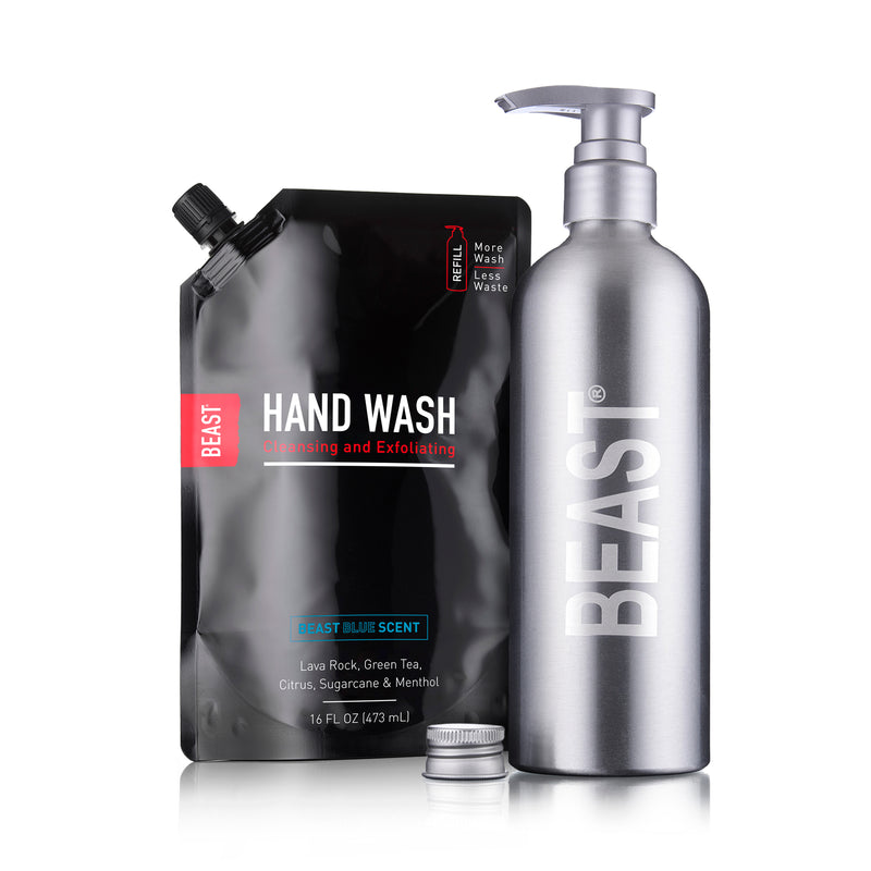 Hand Wash Set with Exfoliating Hand Soap and Reusable Beast Bottle