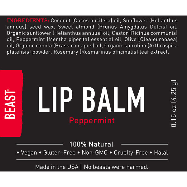 Tame the Beast natural organic peppermint lip balm with a light refreshing tingle