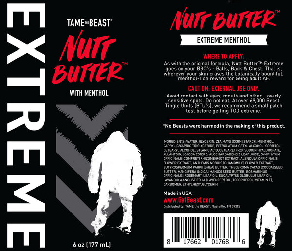 TAME the BEAST® Nutt Butter EXTREME with Menthol Packaging Laid Flat