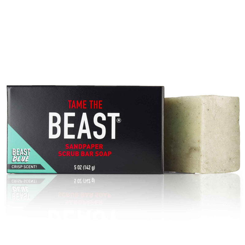 Sandpaper Scrub Natural Lava Rock Bar Soap with Beast Blue Scent by Tame the Beast 5oz