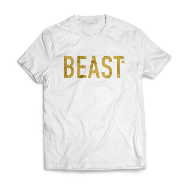 Beast White T Shirt with Gold Beast Lettering on Front