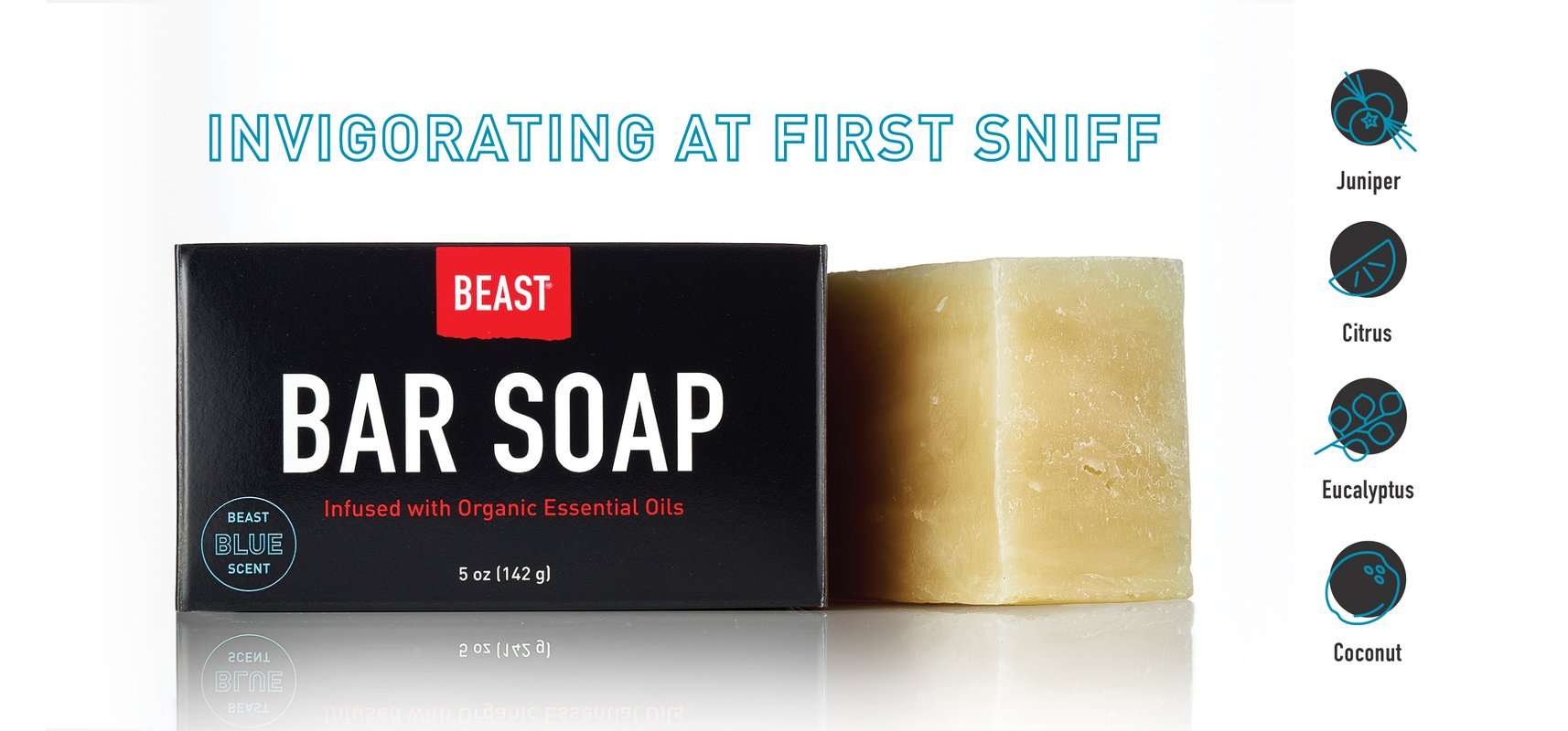 Bar Soap with Natural Organic Essential Oils and Beast Blue Scent