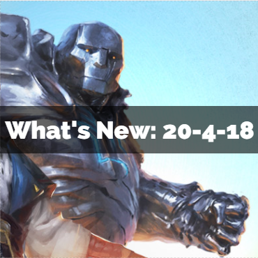 What's New:  21-4-18 and beyond!