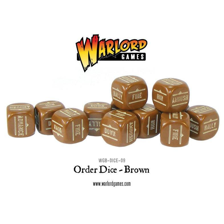 Bolt Action Orders Dice - Brown (12)