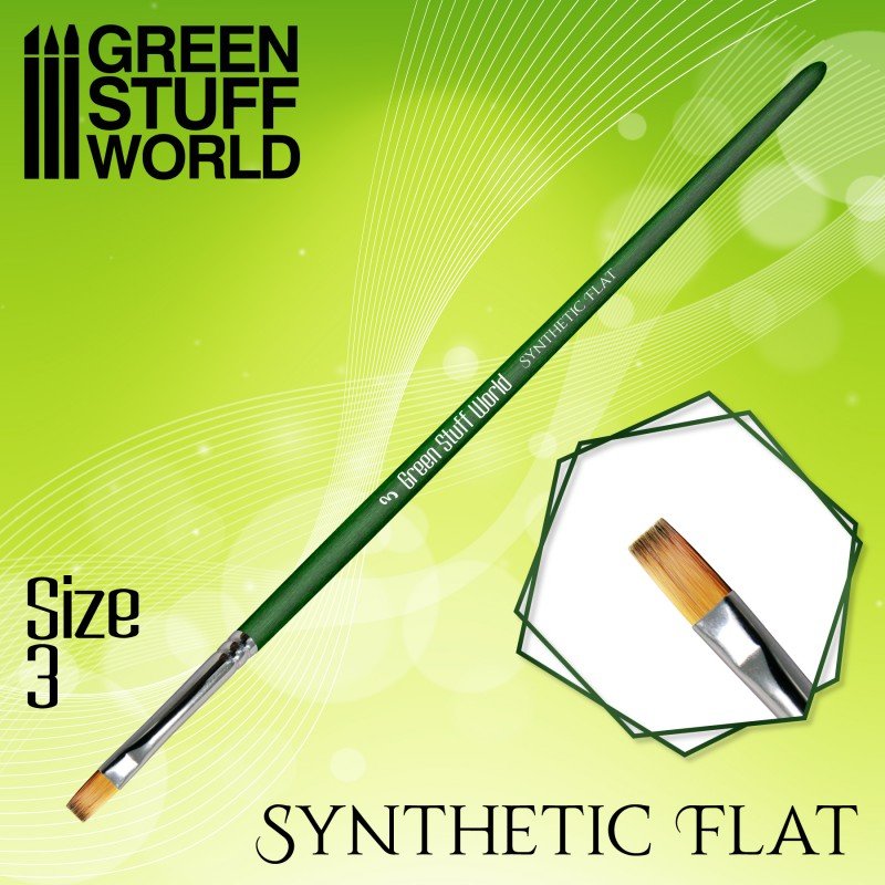 Green Series FLAT Synthetic Brush - Size 3