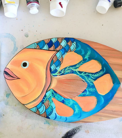 fish art handplane surfboard follow the sun art