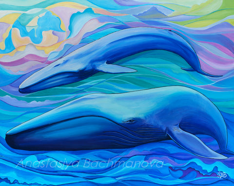 blue whale painting, art and conservation