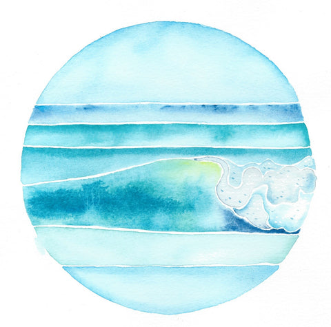 surf art wave painting watercolor, follow the sun