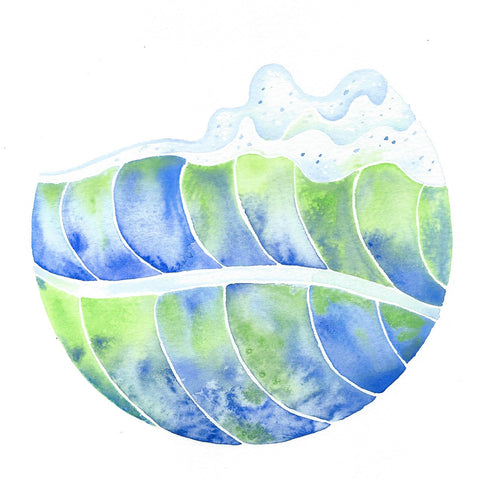 watercolor surf art follow the sun