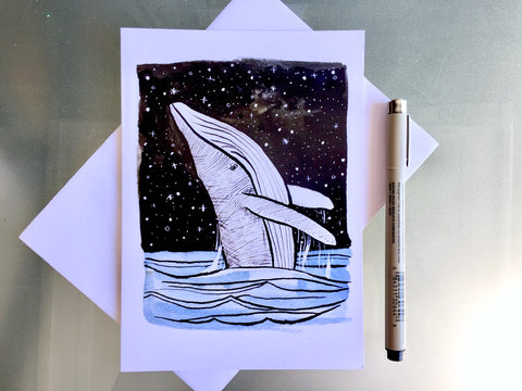 Breaching Whale Blank Greeting Card