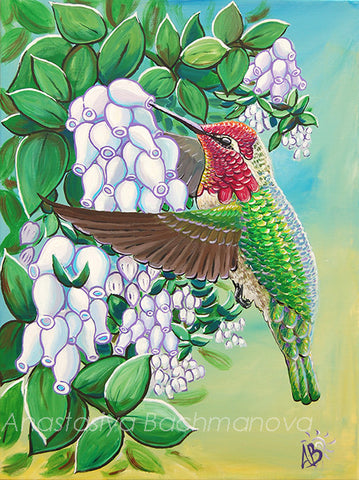 anna's hummingbird painting
