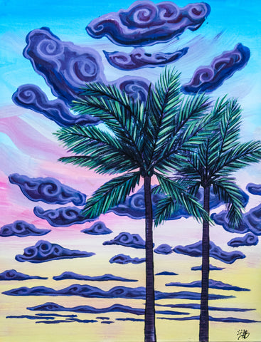 sunset palm trees original painting beach house tropical art