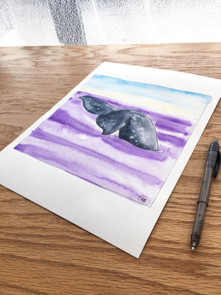 gray whale illustration follow the sun art
