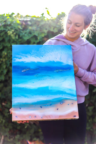 resin ocean art, leopard sharks, santa cruz artist, follow the sun